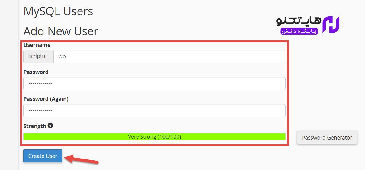جهت ساخت نام کاربری دیتابیس بر روی گزینه create user کلیک کنید.